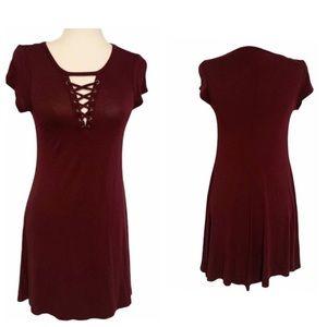 Express Short Sleeve Lace Up Swing Dress XS